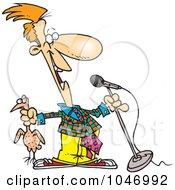 Cartoon Comedian Holding A Chicken