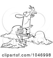Royalty Free RF Clip Art Illustration Of A Cartoon Black And White Outline Design Of A Man In The Clouds
