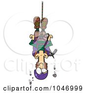 Cartoon Climber Suspended From Rope