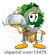 Tree Mascot Cartoon Character Dressed As A Waiter And Holding A Serving Platter