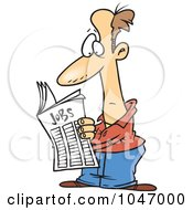 Royalty Free RF Clip Art Illustration Of A Cartoon Man Seeking For A Job In The Classifieds by toonaday