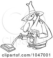 Royalty Free RF Clip Art Illustration Of A Cartoon Black And White Outline Design Of A Sneaky Man Using A Vacuum by toonaday