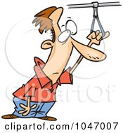 Royalty Free RF Clip Art Illustration Of A Cartoon Commuter Holding Onto A Handle by toonaday
