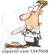Royalty Free RF Clip Art Illustration Of A Cartoon Waiter Dropping Spaghetti by toonaday