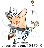 Royalty Free RF Clip Art Illustration Of A Cartoon Coach Tossing A Coin by Ron Leishman