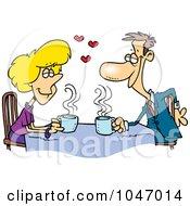 Cartoon Coffee Lovers On A Date