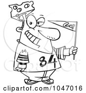 Royalty Free RF Clip Art Illustration Of A Cartoon Black And White Outline Design Of A Cheese Head Sports Fan by toonaday