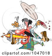Royalty Free RF Clip Art Illustration Of A Cartoon Mexican Man Eating Spicy Food