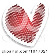Royalty Free RF Clip Art Illustration Of A Red And White Scribble Heart Sticker With A Shadow