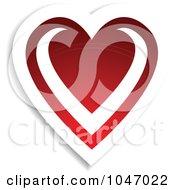 Royalty Free RF Clip Art Illustration Of A Red And White Love Heart Sticker With A Shadow by KJ Pargeter