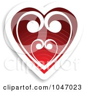 Royalty Free RF Clip Art Illustration Of A Red And White Swirl Heart Sticker With A Shadow