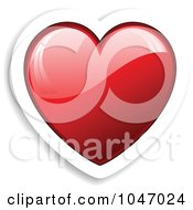 Royalty Free RF Clip Art Illustration Of A Red Heart Sticker With A Shadow