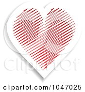 Royalty Free RF Clip Art Illustration Of A White Heart With Red Scribbles Sticker With A Shadow