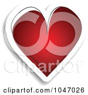 Royalty Free RF Clip Art Illustration Of A Red And White Sketched Heart Sticker With A Shadow
