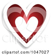 Royalty Free RF Clip Art Illustration Of A Red And White Heart Sticker With A Shadow by KJ Pargeter