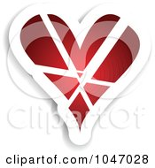 Royalty Free RF Clip Art Illustration Of A Red And White Shattered Heart Sticker With A Shadow by KJ Pargeter