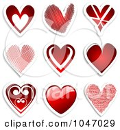Digital Collage Of Red Heart Stickers With Shadows