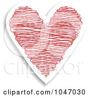 Royalty Free RF Clip Art Illustration Of A Red And White Doodle Heart Sticker With A Shadow by KJ Pargeter