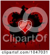 Royalty Free RF Clip Art Illustration Of A Shiny Red Heart Over A Black Splatter And Red Floral Grunge