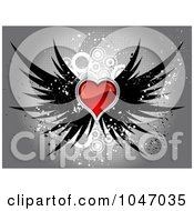 Royalty Free RF Clip Art Illustration Of A Shiny Red Heart With Black Wings Over Gray Halftone Circle Grunge by KJ Pargeter