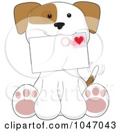 Royalty Free RF Clip Art Illustration Of A Sitting Puppy Holding A Valentines Day Letter by Maria Bell