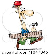 Poster, Art Print Of Cartoon Construction Guy Carrying A Board