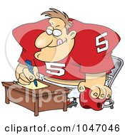 Royalty Free RF Clip Art Illustration Of A Cartoon Football Player Signing A Contract by toonaday