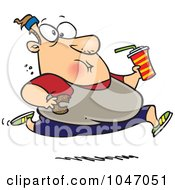 Royalty Free RF Clip Art Illustration Of A Cartoon Fat Man Running And Eating Junk Food by toonaday