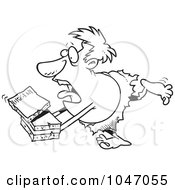 Royalty Free RF Clip Art Illustration Of A Cartoon Black And White Outline Design Of A Caveman Courier by toonaday