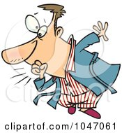Royalty Free RF Clip Art Illustration Of A Cartoon Coughing Man
