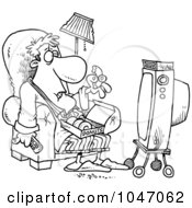 Royalty Free RF Clip Art Illustration Of A Cartoon Black And White Outline Design Of A Man Eating Donuts And Watching Tv by toonaday