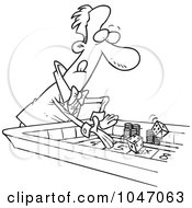 Royalty Free RF Clip Art Illustration Of A Cartoon Black And White Outline Design Of A Man At A Craps Table by toonaday