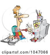 Royalty Free RF Clip Art Illustration Of A Cartoon Digital Artist Man by toonaday