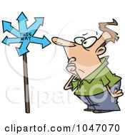Royalty Free RF Clip Art Illustration Of A Cartoon Confused Man Viewing An Arrow Sign by toonaday