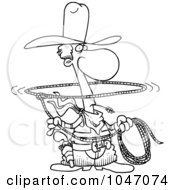 Royalty Free RF Clip Art Illustration Of A Cartoon Black And White Outline Design Of A Lasso Cowboy