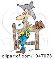 Royalty Free RF Clip Art Illustration Of A Cartoon Western Cowboy Selling Property by toonaday