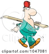 Royalty Free RF Clip Art Illustration Of A Cartoon Construction Worker Carrying A Wood Slat by toonaday