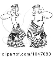 Royalty Free RF Clip Art Illustration Of A Cartoon Black And White Outline Design Of Two Convicts by toonaday