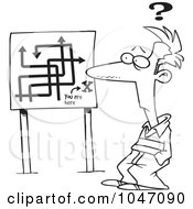 Royalty Free RF Clip Art Illustration Of A Cartoon Black And White Outline Design Of A Confused Man Viewing A Map Sign by toonaday
