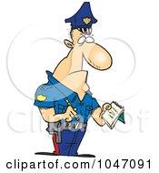 Royalty Free RF Clip Art Illustration Of A Cartoon Tough Cop Writing A Ticket