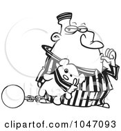 Royalty Free RF Clip Art Illustration Of A Cartoon Black And White Outline Design Of A Con Sucking His Thumb And Holding A Teddy Bear by toonaday