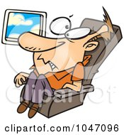 Royalty Free RF Clip Art Illustration Of A Cartoon Confined Man On An Airplane