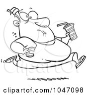 Royalty Free RF Clip Art Illustration Of A Cartoon Black And White Outline Design Of A Fat Man Running And Eating Junk Food by toonaday