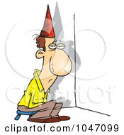 Royalty Free RF Clip Art Illustration Of A Cartoon Man Sitting In A Corner by toonaday