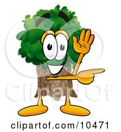 Clipart Picture Of A Tree Mascot Cartoon Character Waving And Pointing by Toons4Biz