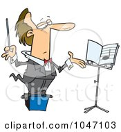 Royalty Free RF Clip Art Illustration Of A Cartoon Conductor On A Podium by toonaday
