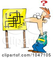 Royalty Free RF Clip Art Illustration Of A Cartoon Confused Man Viewing A Map Sign by toonaday
