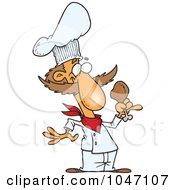 Royalty Free RF Clip Art Illustration Of A Cartoon Chef Holding A Chicken Drumstick by toonaday