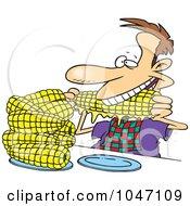 Royalty Free RF Clip Art Illustration Of A Cartoon Man Eating Corn by toonaday