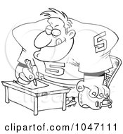 Royalty Free RF Clip Art Illustration Of A Cartoon Black And White Outline Design Of A Football Player Signing A Contract by toonaday